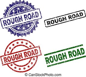 Grunge Textured ROUGH ROAD Seal Stamps - ROUGH ROAD seal...
