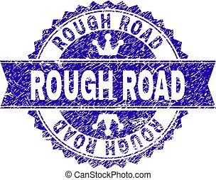 Grunge Textured ROUGH ROAD Stamp Seal with Ribbon - ROUGH...