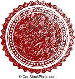 Grunge Textured Round Rosette Seal