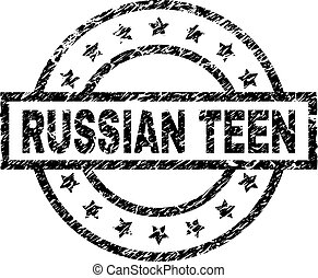 Grunge Textured RUSSIAN TEEN Stamp Seal