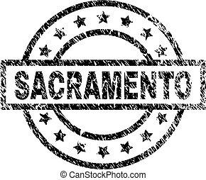 Grunge Textured SACRAMENTO Stamp Seal