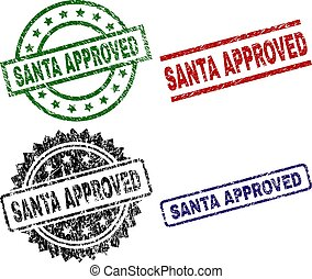 Grunge Textured SANTA APPROVED Seal Stamps