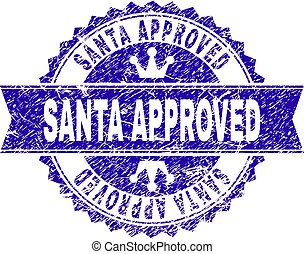 Grunge Textured SANTA APPROVED Stamp Seal with Ribbon