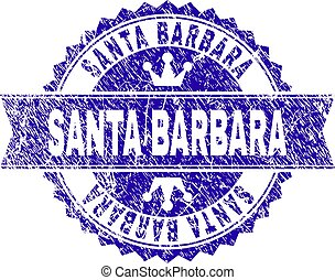 Grunge Textured SANTA BARBARA Stamp Seal with Ribbon