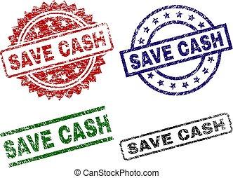 Grunge Textured SAVE CASH Stamp Seals