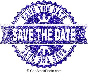 Grunge Textured SAVE THE DATE Stamp Seal with Ribbon