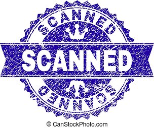 Grunge Textured SCANNED Stamp Seal with Ribbon