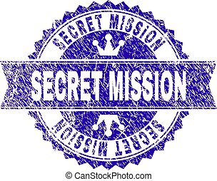 Grunge Textured SECRET MISSION Stamp Seal with Ribbon