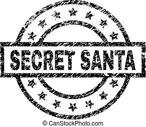 Grunge Textured SECRET SANTA Stamp Seal
