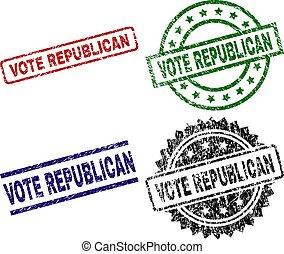 grunge, textured, selos, selo, voto, republicano