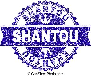 Grunge Textured SHANTOU Stamp Seal with Ribbon