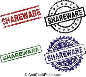 Grunge Textured SHAREWARE Stamp Seals - SHAREWARE seal ...