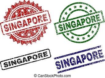 Grunge Textured SINGAPORE Stamp Seals
