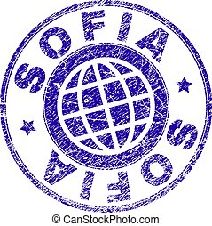 Grunge Textured SOFIA Stamp Seal - SOFIA stamp imprint with...