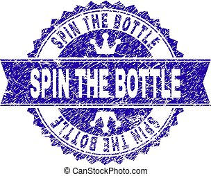 Grunge Textured SPIN THE BOTTLE Stamp Seal with Ribbon
