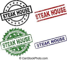 Grunge Textured STEAK HOUSE Seal Stamps