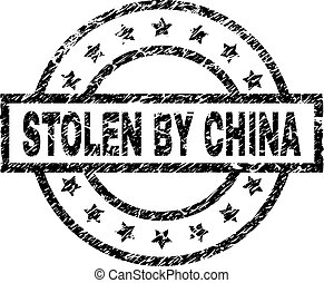 Grunge Textured STOLEN BY CHINA Stamp Seal