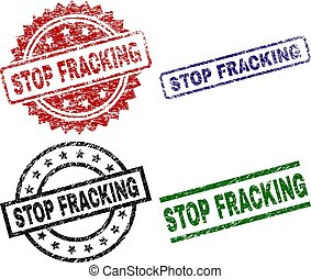 Grunge Textured STOP FRACKING Seal Stamps