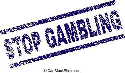 Grunge Textured STOP GAMBLING Stamp Seal