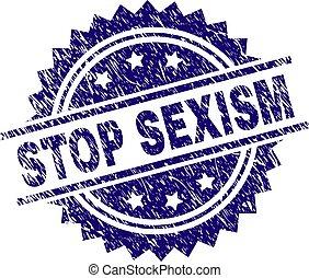 Grunge Textured STOP SEXISM Stamp Seal