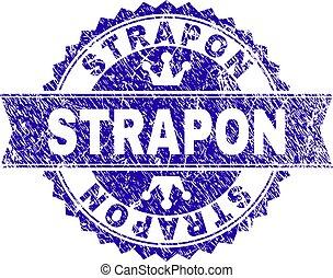 Grunge Textured STRAPON Stamp Seal with Ribbon - STRAPON...