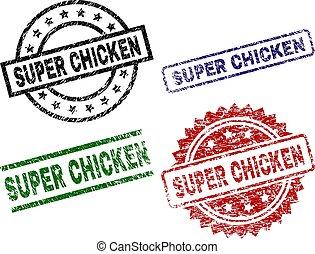 Grunge Textured SUPER CHICKEN Stamp Seals