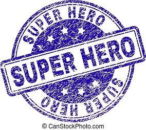 Grunge Textured SUPER HERO Stamp Seal