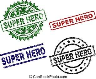Grunge Textured SUPER HERO Stamp Seals