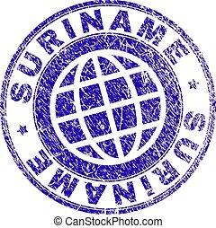 Grunge Textured SURINAME Stamp Seal - SURINAME stamp...