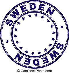 Grunge Textured SWEDEN Round Stamp Seal