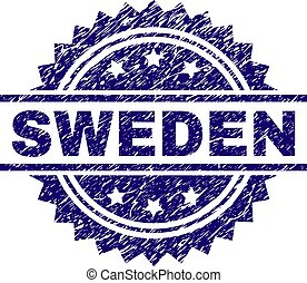 Grunge Textured SWEDEN Stamp Seal