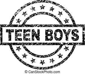 Grunge Textured TEEN BOYS Stamp Seal