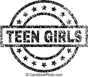 Grunge Textured TEEN GIRLS Stamp Seal