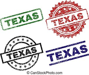 Grunge Textured TEXAS Seal Stamps