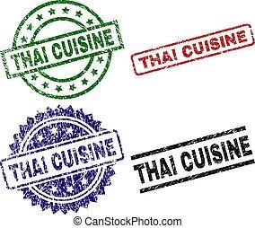 Grunge Textured THAI CUISINE Seal Stamps - THAI CUISINE seal...