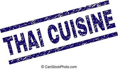 Grunge Textured THAI CUISINE Stamp Seal - THAI CUISINE seal...