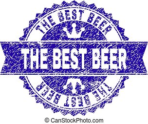 Grunge Textured THE BEST BEER Stamp Seal with Ribbon