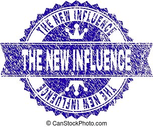 Grunge Textured THE NEW INFLUENCE Stamp Seal with Ribbon