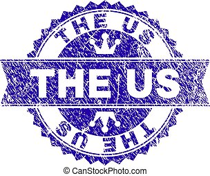 Grunge Textured THE US Stamp Seal with Ribbon