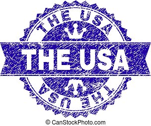 Grunge Textured THE USA Stamp Seal with Ribbon