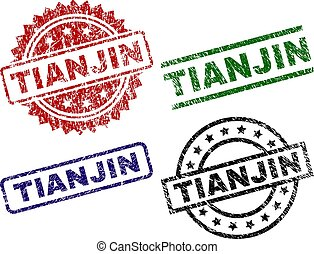Grunge Textured TIANJIN Seal Stamps