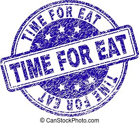Grunge Textured TIME FOR EAT Stamp Seal