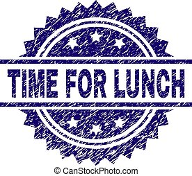 Grunge Textured TIME FOR LUNCH Stamp Seal