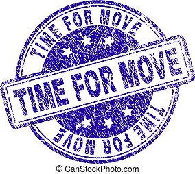 Grunge Textured TIME FOR MOVE Stamp Seal