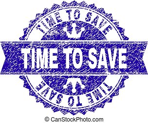 Grunge Textured TIME TO SAVE Stamp Seal with Ribbon