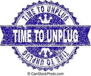 Grunge Textured TIME TO UNPLUG Stamp Seal with Ribbon
