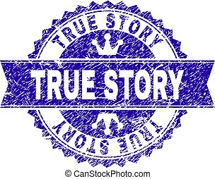 Grunge Textured TRUE STORY Stamp Seal with Ribbon