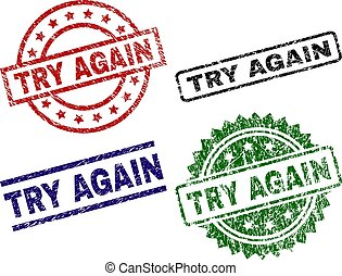 Grunge Textured TRY AGAIN Seal Stamps - TRY AGAIN seal...