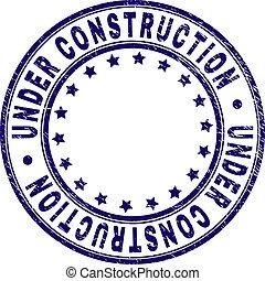 Grunge Textured UNDER CONSTRUCTION Round Stamp Seal