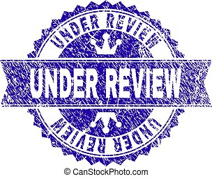 Grunge Textured UNDER REVIEW Stamp Seal with Ribbon